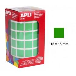 Gomet apli en formato cuadrado de 15x15 mm. en color verde, rollo de 2.832 uds.