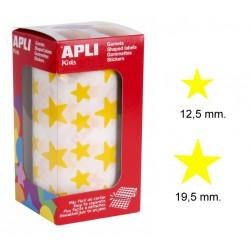 Gomet apli en forma de estrella de diferentes tamaños en color amarillo, rollo de 2.360 uds.