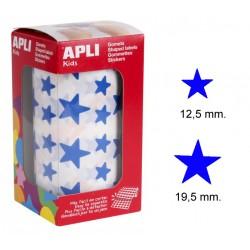 Gomet apli en forma de estrella de diferentes tamaños en color azul, rollo de 2.360 uds.