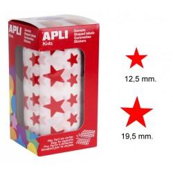 Gomet apli en forma de estrella de diferentes tamaños en color rojo, rollo de 2.360 uds.