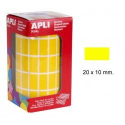 Gomet apli en formato rectangular de 20x10 mm. en color amarillo, rollo de 3.540 uds.
