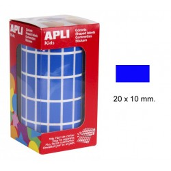 Gomet apli en formato rectangular de 20x10 mm. en color azul, rollo de 3.540 uds.