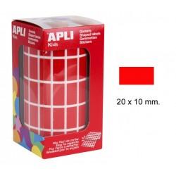 Gomet apli en formato rectangular de 20x10 mm. en color rojo, rollo de 3.540 uds.