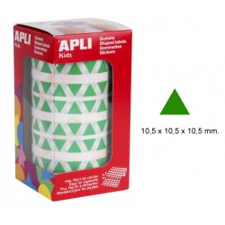 Gomet apli en formato triangular de 10,5x10,5x10,5 mm. en color verde, rollo de 6.136 uds.