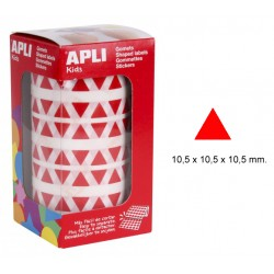 Gomet apli en formato triangular de 10,5x10,5x10,5 mm. en color rojo, rollo de 6.136 uds.