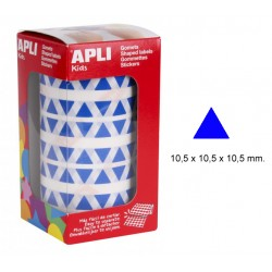 Gomet apli en formato triangular de 10,5x10,5x10,5 mm. en color azul, rollo de 6.136 uds.