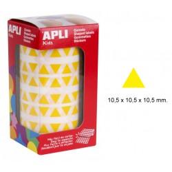 Gomet apli en formato triangular de 10,5x10,5x10,5 mm. en color amarillo, rollo de 6.136 uds.