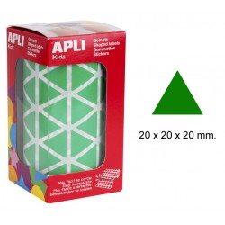 Gomet apli en formato triangular de 20x20x20 mm. en color verde, rollo de 2.832 uds.