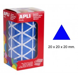 Gomet apli en formato triangular de 20x20x20 mm. en color azul, rollo de 2.832 uds.