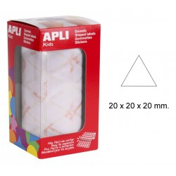 Gomet apli en formato triangular de 20x20x20 mm. en color blanco, rollo de 2.832 uds.