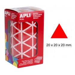 Gomet apli en formato triangular de 20x20x20 mm. en color rojo, rollo de 2.832 uds.