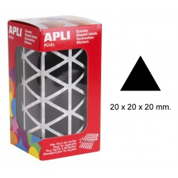 Gomet apli en formato triangular de 20x20x20 mm. en color negro, rollo de 2.832 uds.