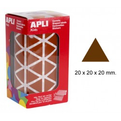 Gomet apli en formato triangular de 20x20x20 mm. en color marrón, rollo de 2.832 uds.