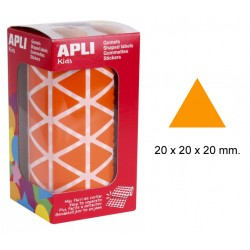 Gomet apli en formato triangular de 20x20x20 mm. en color naranja, rollo de 2.832 uds.