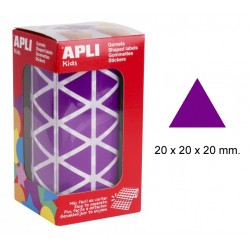 Gomet apli en formato triangular de 20x20x20 mm. en color lila, rollo de 2.832 uds.
