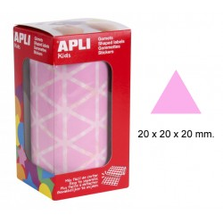 Gomet apli en formato triangular de 20x20x20 mm. en color rosa, rollo de 2.832 uds.