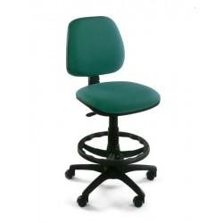 Taburete de oficina danubio contacto permanente, respaldo alto, aro reposapies y asiento regulable en altura.