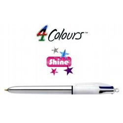 Bolígrafo retráctil multifunción bic 4 colours shine cuerpo plateado.