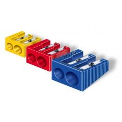 Afilalápices de plástico staedtler doble, forma de cuña, colores surtidos.