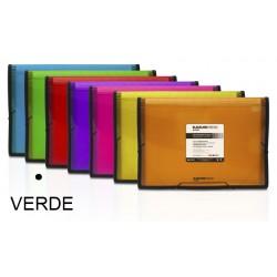 Carpeta clasificador fuelle grafoplas blackline en formato folio, 13 departamentos, cierre con gomas en color verde.