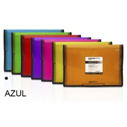 Carpeta clasificador fuelle grafoplas blackline en formato folio, 13 departamentos, cierre con gomas en color azul.