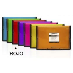 Carpeta clasificador fuelle grafoplas blackline en formato folio, 13 departamentos, cierre con gomas en color rojo.
