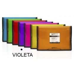 Carpeta clasificador fuelle grafoplas blackline en formato folio, 13 departamentos. cierre con gomas en color violeta.