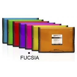 Carpeta clasificador fuelle grafoplas blackline en formato folio, 13 departamentos, cierre con gomas en color fucsia.