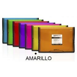 Carpeta clasificador fuelle grafoplas blackline en formato folio, 13 departamentos, cierre con gomas en color amarillo.