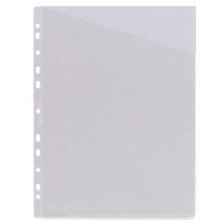 Funda planos 11 taladros en pvc de 100 micras grafoplas en formato din a-4 con corte diagonal color transparente.