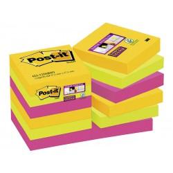 Bloc de notas adhesivas 3m post-it super sticky 47,6x47,6 mm. color río de janeiro, pack de 12 blocs.