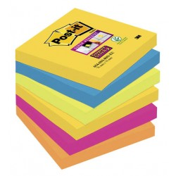 Bloc de notas adhesivas 3m post-it super sticky 76x76 mm. color río de janeiro, pack de 6 blocs.