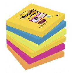 Bloc de notas adhesivas 3m post-it super sticky 76x76 mm. color río de janeiro, pack de 6 blocs.