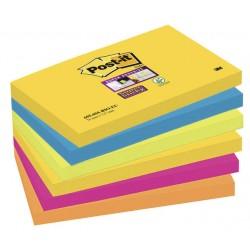 Bloc de notas adhesivas 3m post-it super sticky 76x127 mm. color río de janeiro, pack de 6 blocs.