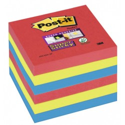 Bloc de notas adhesivas 3m post-it super sticky 47,6x47,6 mm. color río de janeiro, pack de 12 blocs.