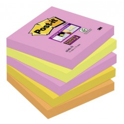Pack de 5 blocks de notas post-it super-sticky en colores intensos neón de 76x76 mm.