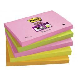 Bloc de notas adhesivas 3m post-it super-sticky 76x127 mm.color cape town, pack de 5 blocs.