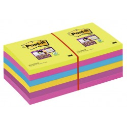 Bloc de notas adhesivas 3m post-it super sticky ultra 76x76 mm. colores neón, pack de 12 blocs.