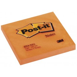 Bloc de notas adhesivas 3m post-it 654 76x76 mm. color naranja neón, pack de 6 blocs.