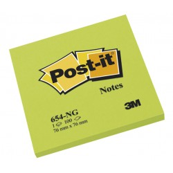 Bloc de notas adhesivas 3m post-it 654 76x76 mm. color verde neón, pack de 6 blocs.