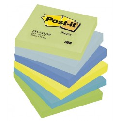 Bloc de notas adhesivas 3m post-it 654 76x76 mm. color fantasía, pack de 6 blocs.