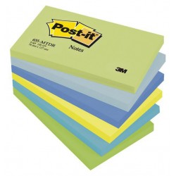 Bloc de notas adhesivas 3m post-it 655 76x127 mm. color fantasía, pack de 6 blocs.