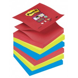 Bloc de notas adhesivas 3m post-it super sticky z-notes 76x76 mm. color bora bora, pack de 6 blocs.