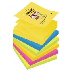 Bloc de notas adhesivas 3m post-it super sticky z-notes 76x76 mm. color rio de janeiro, pack de 6 blocs.