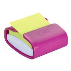 Dispensador de notas adhesivas 3m post-it z-notes en color fucsia.