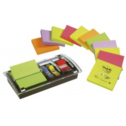 Dispensador de notas adhesivas 3m post-it z-notes de 76x76 mm. + marcapáginas post-it index de 11,9x43,1 y 25,4x43,2, millenium.