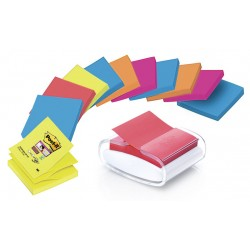 Dispensador de notas adhesivas 3m post-it super sticky z-notes 76x76 mm. pro, color blanco.