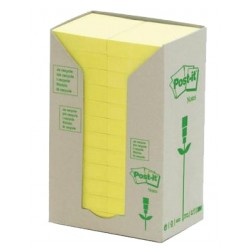 Bloc de notas adhesivas 3m post-it recicladas 653-1t 38x51 mm. en color amarillo, torre de 24 blocs.