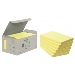 Bloc de notas adhesivas recicladas 3m post-it linea verde 655-1b 76x127 mm. en color amarillo, torre de 6 blocs.