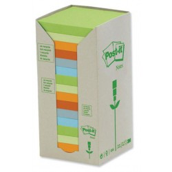 Bloc de notas adhesivas recicladas 3m post-it linea verde 653-1t 38x51 mm. en color amarillo, torre de 24 blocs.